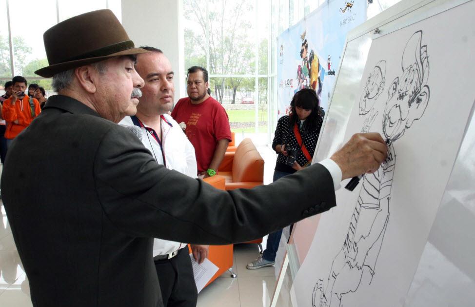 Don Sixto enseñando a dibujar a Memín
