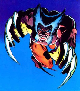 Wolverine saltando sobre la cena tras una batalla contra los Centinelas.