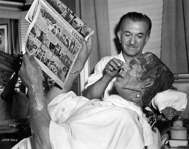 Pierce y Boris Karloff pasaban cuatro horas dando forma a la caracterización del monstruo de Frankenstein.