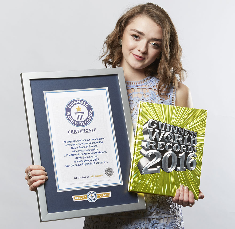 Maisie Williams - Game Of Thrones Largest TV drama simulcast (number of countries) Guinness World Records 2015 Photo Credit: Paul Michael Hughes/GWR