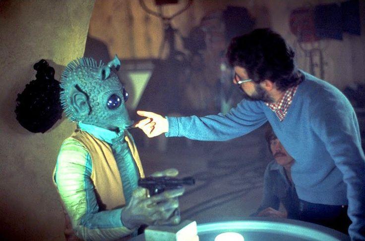 Lucas preparándose para filmar la famosa escena.