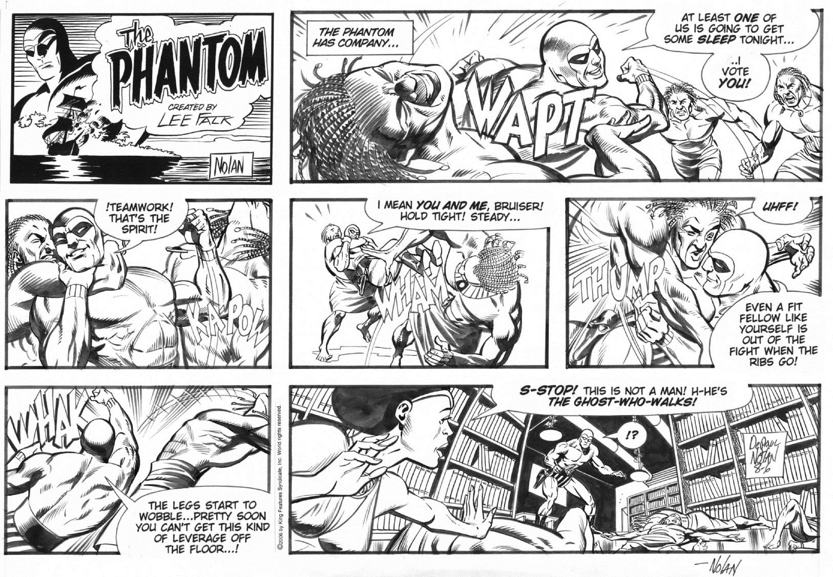 Un vistazo al trabajo de Nolan en The Phantom, previo a la aplicación del color.