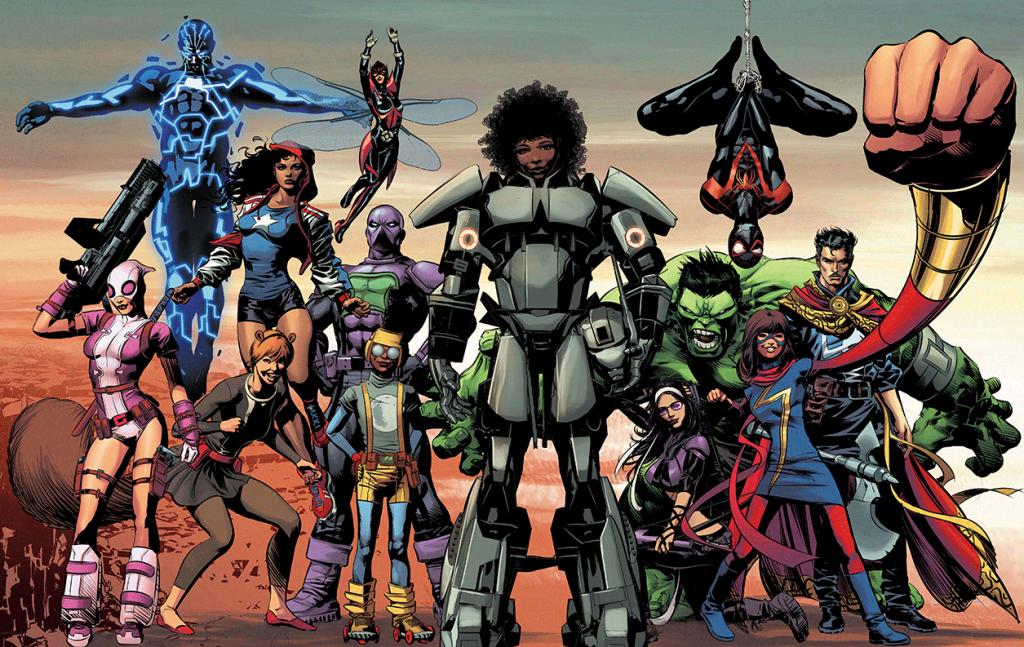 La diversidad de género y etnias en los héroes de Marvel es muy clara en esta parte de la imagen.