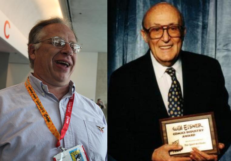 Dave Olbrich (izq.) fue responsable de la creación del premio Eisner, nombrado así en honor y con permiso de Will Eisner (der.)
