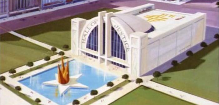 El diseño del Hall of Justice es tan distintivo que es casi imposible hallar a alguien que no lo identifique.