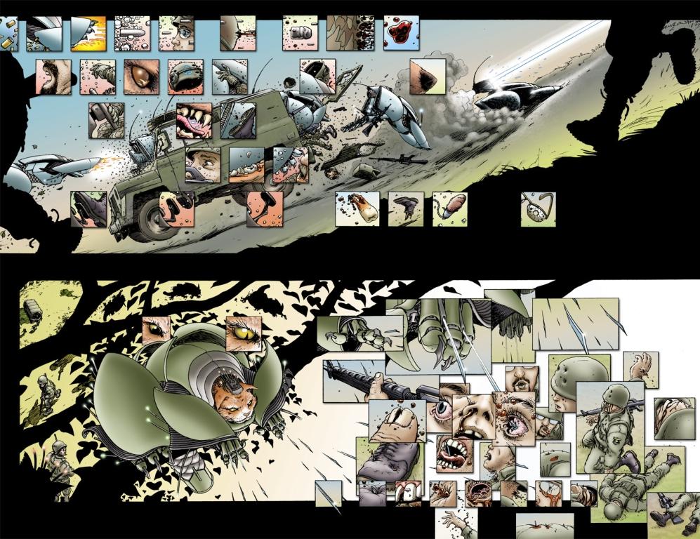 La atención al detalle y creativa diagramación de página de Quitely hacen de We3 una experiencia especial para el lector.